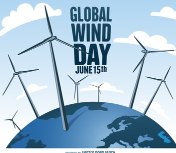 Global Wind Day with windmills design - Free vector #372343