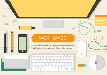 Free Work Space Vector Illiustration - vector gratuit #372413
