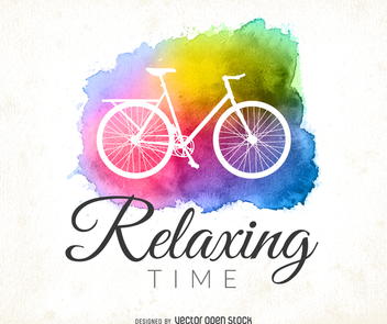 Watercolor cycling logo - Free vector #372533