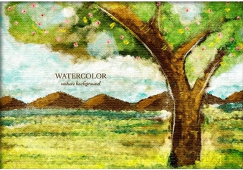 Free Vector Watercolor Tree Landscape - Free vector #372593