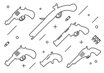 Collection of Thin Style Gun Shapes - бесплатный vector #372613