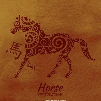 Chinese zodiac horse drawing - vector gratuit #372733