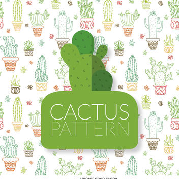 Hand drawn cactus pattern - бесплатный vector #372793
