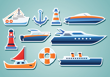 Free Nautical Stickers - vector gratuit #372903