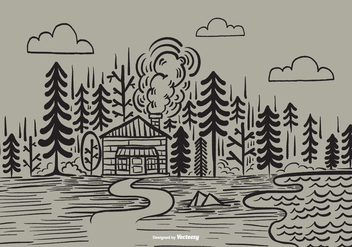 Hand Drawn Forest Cabin Vector - vector gratuit #373003