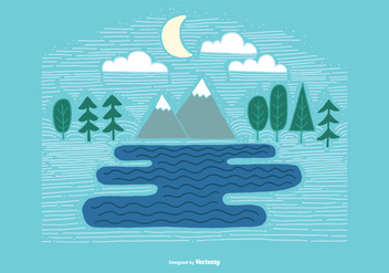 Linear Mountain Landscape Vector - Free vector #373023