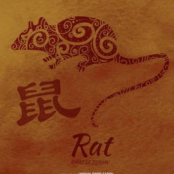 Chinese zodiac rat illustration - Free vector #373063