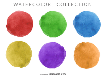 Watercolor circle set - vector gratuit #373083