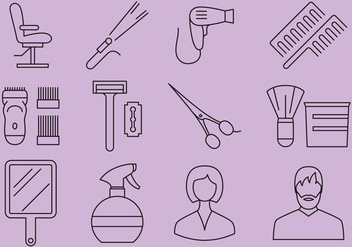 Beauty Salon And Barber Shop Icons - vector #373153 gratis