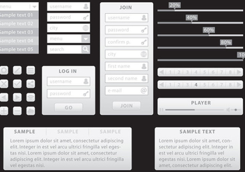 Gray Minimalist Web Kit - vector gratuit #373163