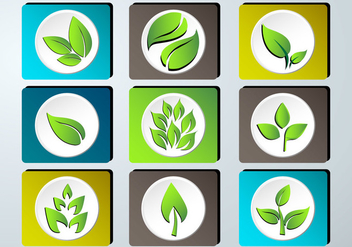 Set of green leaves design icon set - Free vector #373413