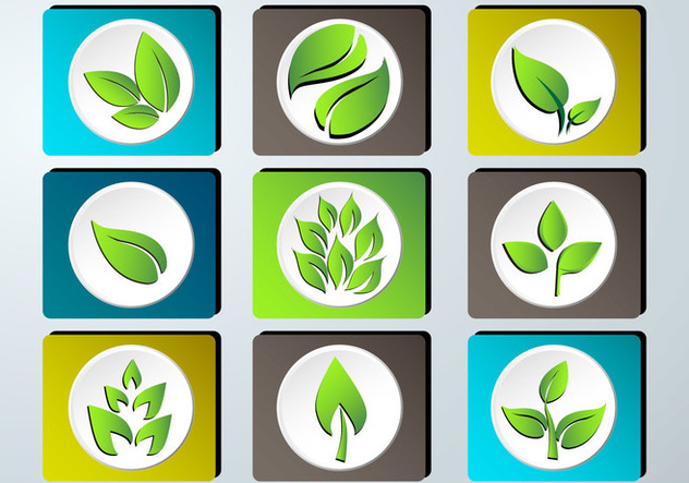 Set of green leaves design icon set - vector gratuit #373413