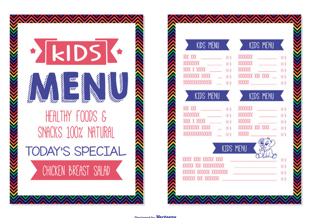 Kids Menu Template - vector gratuit #373483