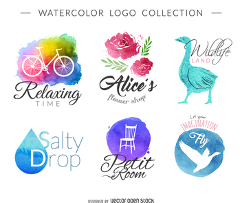 Watercolor logo set - vector gratuit #373503