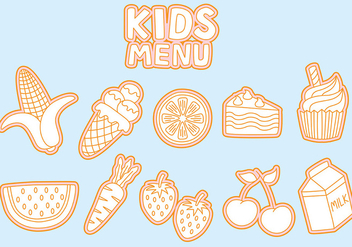 Kids Menu Icons Vectors - vector gratuit #373563