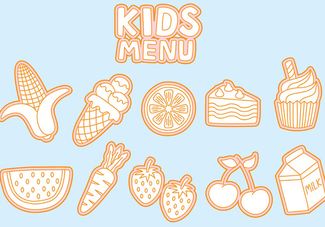 Kids Menu Icons Vectors - vector #373563 gratis