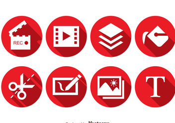 Video Editing Red Circle icons - vector gratuit #373653