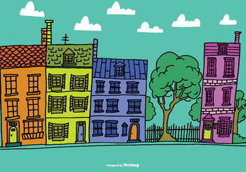 Colorful Row House Vectors - vector gratuit #373683