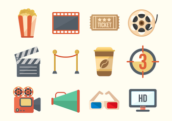 Free Cinema Movie Vector Icons - vector #373693 gratis