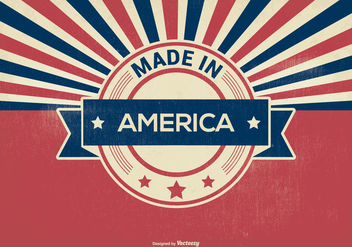 Retro Style Made in America Illustration - Kostenloses vector #373913