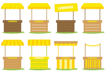 Yellow Lemonade Stand Vector - vector gratuit #373933
