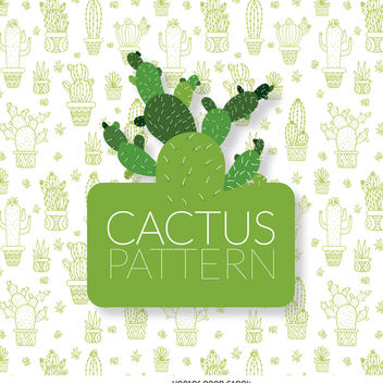 Delicate cactus pattern - Free vector #373993