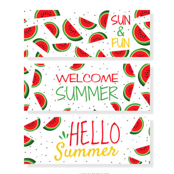 Summer watermelon banner set - Free vector #374003