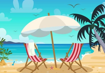 Deck Chair and Beach Landscape Vector - Free vector #374043