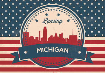 Landsing Michigan Retro Skyline Illustration - Free vector #374223