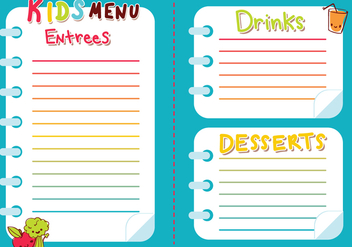 Kids Menu Vector - vector #374243 gratis