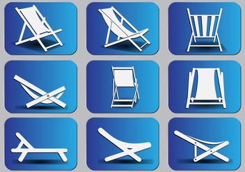 Deck chair Silhouette icon set - бесплатный vector #374443