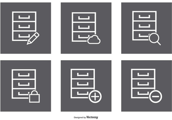 File Cabinet Icon Set - vector #374473 gratis