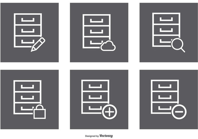 File Cabinet Icon Set - Free vector #374473