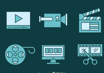 Video Editing Blue Icons - vector gratuit #374503