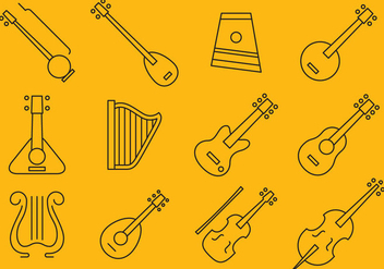 Stringed Instrument Icons - vector gratuit #374663