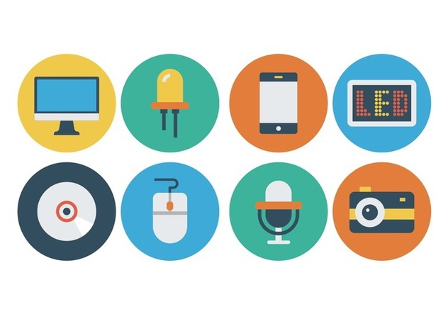 Скачать Eco Technology Flat Icons: Free Flat Technology Icons Download De Vetor Gratuito