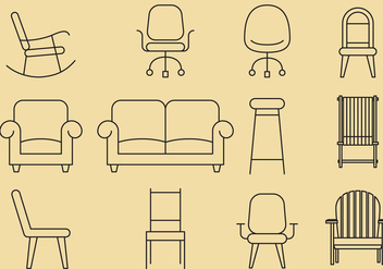Chair Line Icons - vector gratuit #375043