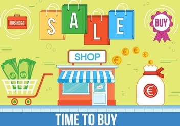 Free Time to Buy Vector Illustration - бесплатный vector #375153