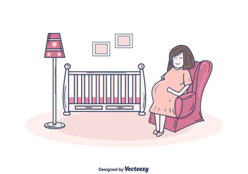 Pregnant Mom Vector - Free vector #375593