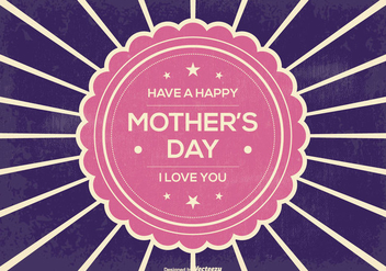 Retro Sunburst Mother's Day Illustration - бесплатный vector #375733