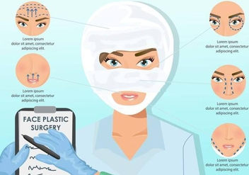Woman Face Plastic Surgery - vector gratuit #376003