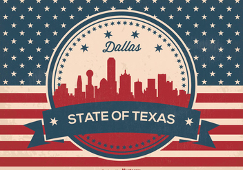 Retro Dallas Texas Skyline Illustration - vector gratuit #376043