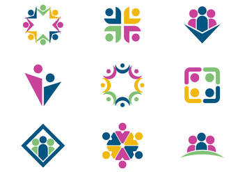 Free Working Together / Teamwork Logo Vectors - vector gratuit #376193