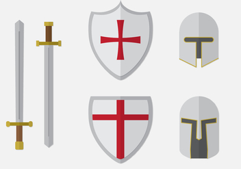 Templar Knight Elements Set - vector #376213 gratis
