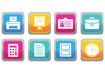 Free Office Button Icons - vector #376333 gratis