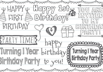 Cute First Birthday Vector Doodles - Free vector #376373