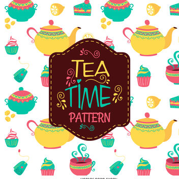 Tea time illustration pattern - vector gratuit #376533