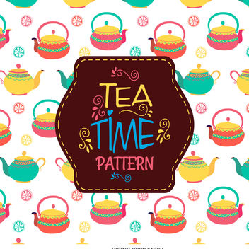 Teapots drawing pattern - vector gratuit #376563
