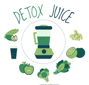 Detox juice element poster - Free vector #376653