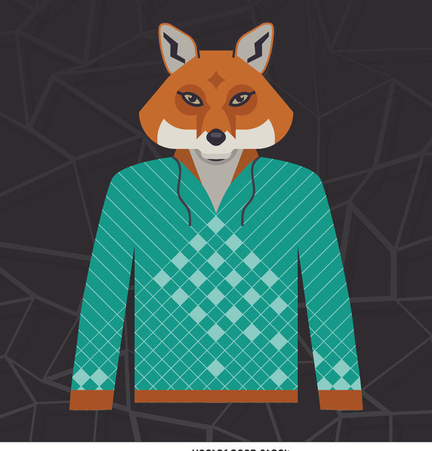 Illustrated fox hoodie - vector #376683 gratis